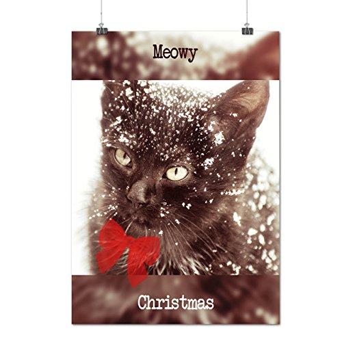 Katze Niedlich Kätzchen Weihnachten Meowy Weihnachten Mattes/Glänzende Plakat A4 (30cm x 21cm) | Wellcoda