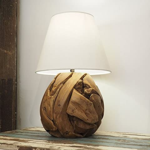 Wooden Table Lamp - Unique Rustic Style Teak Root - Hallway Lighting - Natural Shade