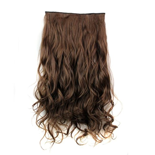CLOOM Damen Haare Perücken Frauen Lockiges Haar Perücke Haarteil Clip False Hair Synthetic Hair Extension Curly Heat Resistant Hair Brown Gold Perücke Damen schwarze lockige Perücke (C)