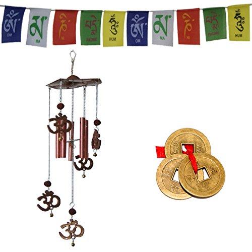 Divya Mantra Combo des Feng Shui OM Rudraksha Windspiel, tibetischen Mantra Flagge für Motorrad und Chinesische Münzen für Glück