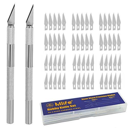 Mlife Precision Carving Craft Messer Set 60 Ersatzklingen Skalpell Schnitzmesser für DIY Art Work...