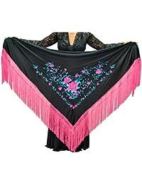 ANUKA Mantón Grande triangular de flamenco o sevillanas (195X95cm).