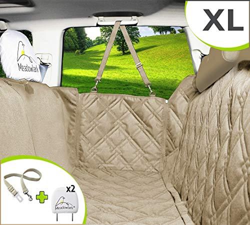 Meadowlark® XL Hundedecke für Auto Rückbank. Wasserdicht! Komplettschutz Beige Autoschondecke für Hunde, Wasserfester Rücksitz Sitzbezug ideale Autodecke für Haustiere, Schonbezüge Decke +2 Geschenke - Komfort-schutz-creme