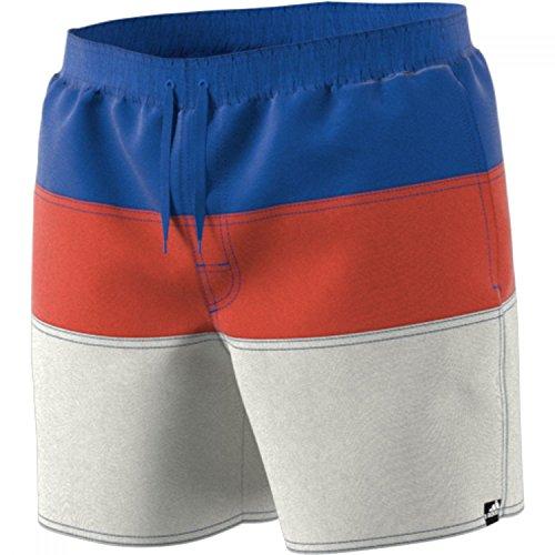 adidas Herren Colorblock Short Length Badehose, Hi-Res Blue/Raw Amber/Cloud White, L