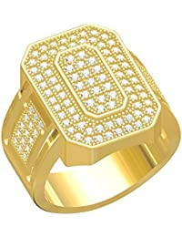 Spangel Fashion Designer 18 Ct. Gold Plated American Diamond Jewellery Ring For Men - B077VRWQVY