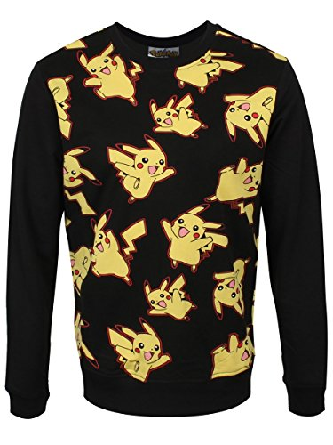 Pokemon Herren Sweatshirt Pikachu All Over Sweater Black