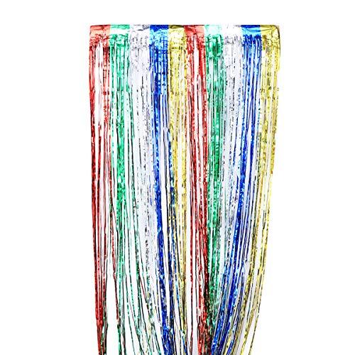 Toyvian Luftschlangen Metallic Shiny Lametta Fringe Vorhang Schimmer Folienvorhang für Party Foto Hochzeit Hintergrund Dekorationen