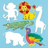 Safari-Tiere aus Pappe zum Basteln und Bemalen für Kinder - für Kindergeburtstag und Mottoparty (10 Stück)