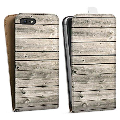Apple iPhone X Silikon Hülle Case Schutzhülle Graue Holzlatten Holz Look Planken Downflip Tasche weiß