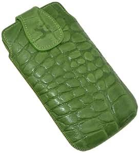 Original Suncase Echt Ledertasche (Magnetverschluss) für HTC One X in croco-grün