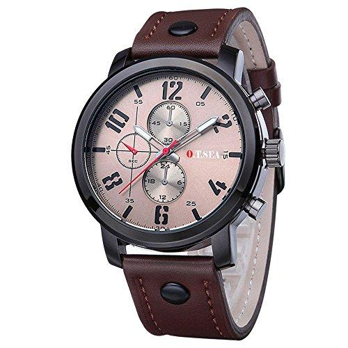 Jiangchengwen Uhren Sport Analog Quarz Armbanduhr mit Leder Armband Mode Luxus Geschäfts Klassische LäSsige