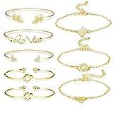 BESTEEL 8 PCS Bracelets pour Femmes Filles Amour Noeud Joli Bracelet Ouvert Manchette...