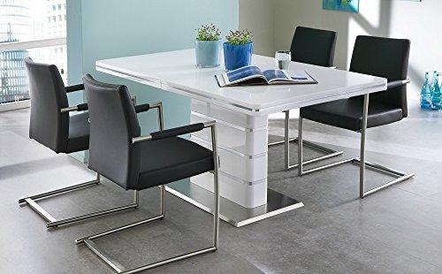 Preisvergleich Produktbild Esstisch in weiß Hochglanz,  ausziehbarer Esszimmertisch mit Synchronauszug,  160-200 cm breit und 90 cm tief,  Küchentisch rechteckig und modern