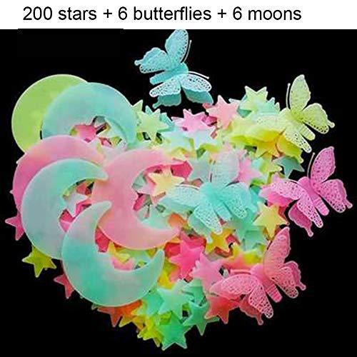 CLOUD Fluoreszierende Wandtattoos - Schmetterling Mond Sterne Leuchtende Dekorative Aufkleber - Kinderzimmer 3D Meteor Schneeflocke Art Deco 08