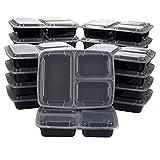 20-pack Bento Lunch Box–3compartiments repas Préparation Boîtes avec couvercles–sans BPA, empilable, micro-ondes et lave-vaisselle–1020,6gram Plastique réutilisable de stockage de nourriture de...