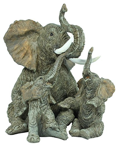 Dekofigur Elefant mit 2 Kindern Dickhäuter Elefanten Dekoration Glückselefant Tierdeko