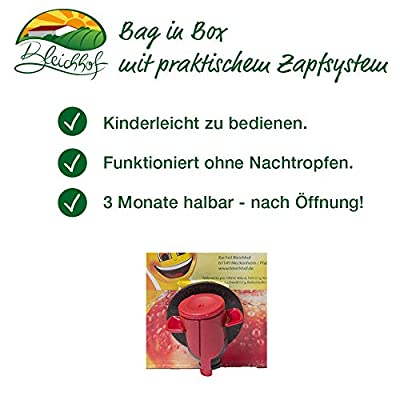 Sauerkirschsaft vom Bleichhof (1x 5 l Saftbox) - 100% Direktsaft, naturrein und vegan. OHNE Zusatzstoffe und Zuckerzusatz. Bag-in-Box mit praktischem Zapfsystem