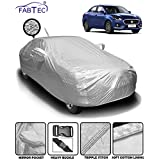 Fabtec Heat & Waterproof Metallic Silver Mirror and Antenna Pocket Car Body Cover for Maruti Swift Dzire (2018-2019) with Soft Cotton Lining (Full Bottom Elastic, Full Sized, Triple Stitched)