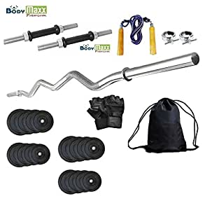 Body Maxx 30Kgpackglovesropegymbag 30 Kg Weight Lifting Home Gym Set Of Rubber Plates + 3 Feet Curl Bar + 2 Pcs Dumbells Rods + 2 Locks +1 Pair Gym Gloves + Skipping Rope + Gym Bag Pack