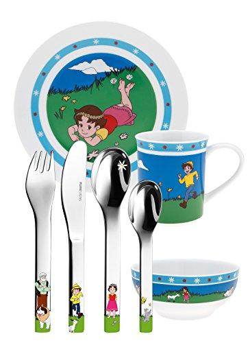 Puresigns ONE Heidi Kindergeschirr Porzellan Kinderbesteck Edelstahl Poliert Silber 7-teilig -