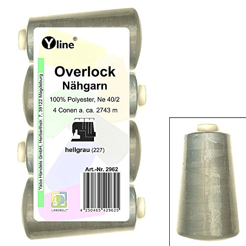 4 Stück Spulen Overlock - Nähgarn, hell - grau, a. 2743 m, NE 40/2, 100% Polyester, Nähfaden, Nähmaschinen Garn, 2962