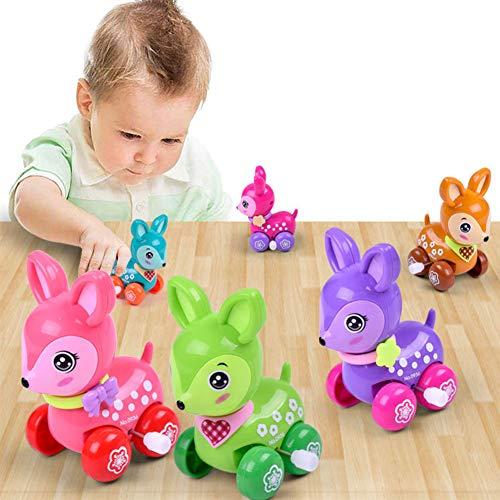 mAjglgE Niedliches Cartoon-Sika-Hirsch-Tier-Spielzeug zum Aufziehen, Kunststoff, für Kinder, zufällige Farbe
