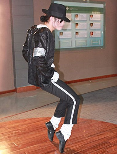 Michael Kostüm Jackson Zubehör - Guangmu Michael Jackson Billie Jean Rollenspiele Kostüme Erwachsener und Kind Party Tanzparty Verkleiden Schwarze Paillette - Jacke + Pants + Hut + Socken + Handschuh (M (H:160-170cm W:55-60kg))