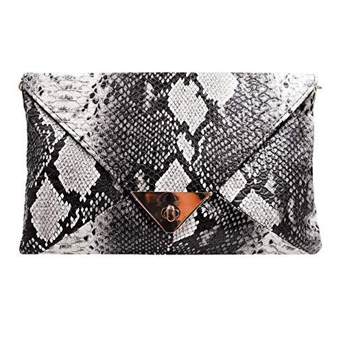 AiSi Damen/Mädchen Leder Mini Süße Umhängetasche Elegante Clutch für Reise Schwarz 30 * 2 * 19cm (Schlange Muster) - Leder Mini-clutch
