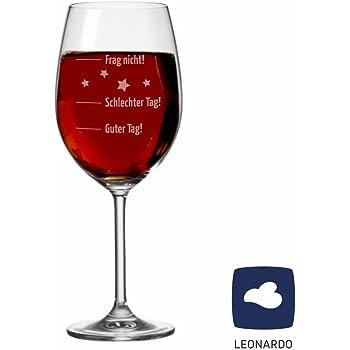 """Weinglas """"Guter Tag!, Schlechter Tag! - Frag nicht!"""", Rot"""