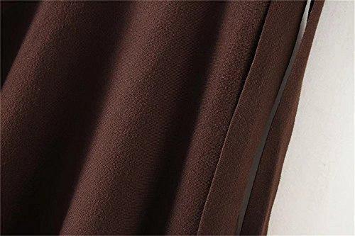 COCO clothing Donna Vintage Plus Size Alto Vita Gonna A Ruota Midi Una Linea Pieghe Campana Svasata Swing Floreale Gonne Marrone