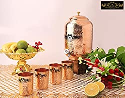 Crockery Wala and Company Premium Quality 8 Ltr Copper Water Dispenser with Designer Brass Knob And Four Copper Hammered Glasses by Crockery wala and Company, 99.5% Pure Copper matka for kitchen enhances health