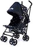 ZETA VOOOM - Black Dots with Rain Cover + Deluxe 2in1 footmuff liner zip off padded black