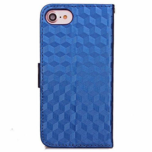 iPhone Case Cover Étui de couleur solide étui de diamant trousse d'effet 3D étui de support de porte folio avec courroie de main pour IPhone 7 ( Color : Red , Size : IPhone 7 ) Deongaree