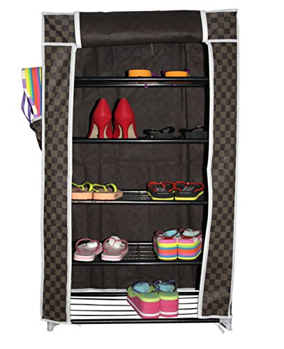 House of Quirk 5-Layers Multi-Purpose Shoe Rack (60 cm x 30 cm x 90 cm, Brown)