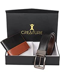 Creature Combo Of Black-Brown Wallet For Men & Black-Brown Reversible Belt For Men(BL-01 L-001)