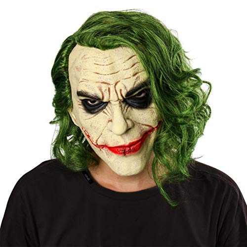 Nofonda Joker Latex Maske mit Haare Gruselige Kopfmaske -