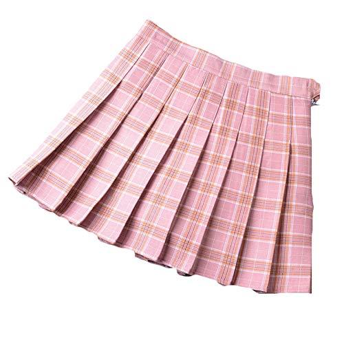 275cf25a465 Mujeres Falda Escocesa Plisada con Cintura Elástica Escuela Uniforme Falda  Cuadros Acampanada Pink L