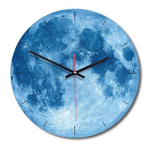 eurobuy orologio da parete in legno modello luna, silenzioso stile moderno fantastico, adatto per la decorazione domestica/ufficio/orologio scolastico (color : blu)