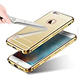"""Aluminum Metal Detachable Anti Scratch Case Cover with Mirror Compatible for iPhone 6, iPhone 6s (4.7"""") – Golden"""