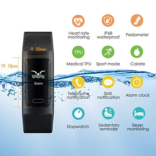 51xBczlFKsL. SS500  - 4UMOR Fitness Tracker, Activity Tracker Smart Watch Heart Rate Monitor, Sleep Monitor, Step Counter, Calorie Counter, IP68 Waterproof Slim Pedometer Smart Wristband for Men, Women, Kids