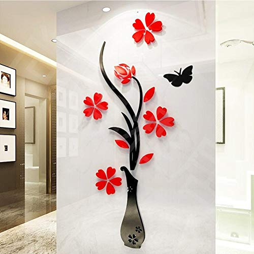 Gereton DIY 3D Blume Aufkleber Wandaufkleber Removable Home Room Decoration Applique Dreidimensionale TV Hintergrund Entranceway Kunst Wandbild -