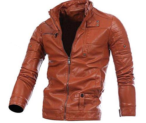 Ghope Men's Faux Leather Jacket Biker Jacket PU Leather Jacket Sweats's Braun