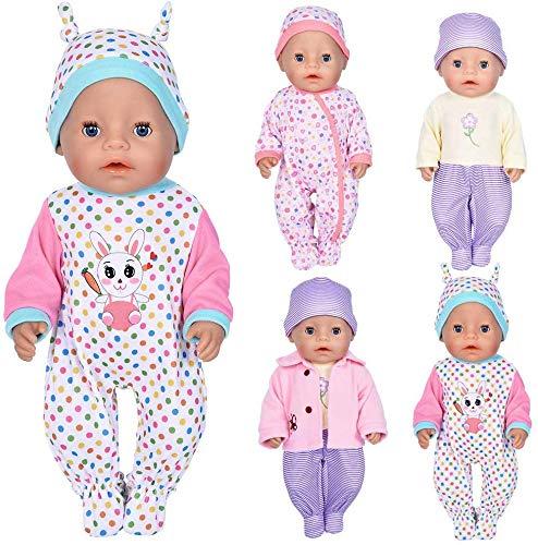 WENTS Puppenkleidung Bekleidung Zubehör für 35-46cm Babypuppe Puppen Kleider Onesies für 43 cm 18 Zoll American Doll Kleidung