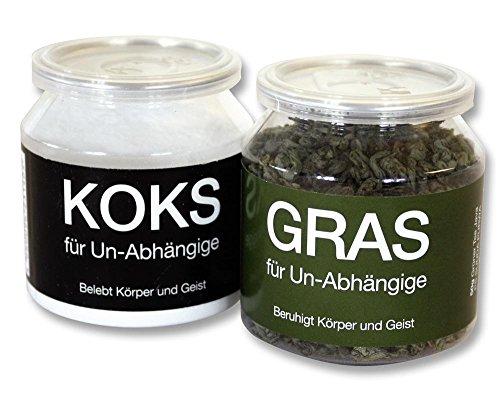 fake joint Close Up GRAS und KOKS für Un-Abhängige im 2-er Set - FUN Scherzartikel, Tee & Traubenzucker