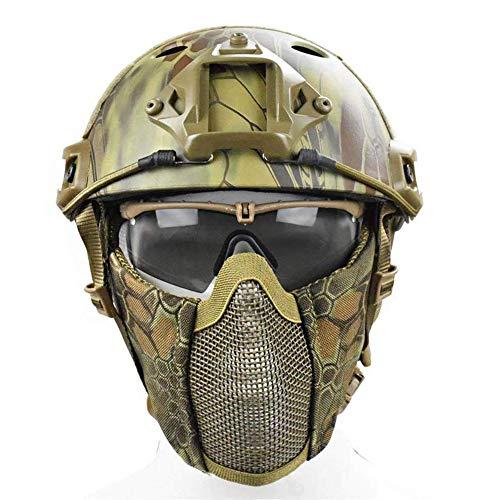 QZY Hochkonfigürlicher Taktischer Helm, Airsoft Paintball Safety Hard Hat CS Tactical Equipment mit Goggles und Stencil Mask Männer und Frauen-9 Camouflage,MA