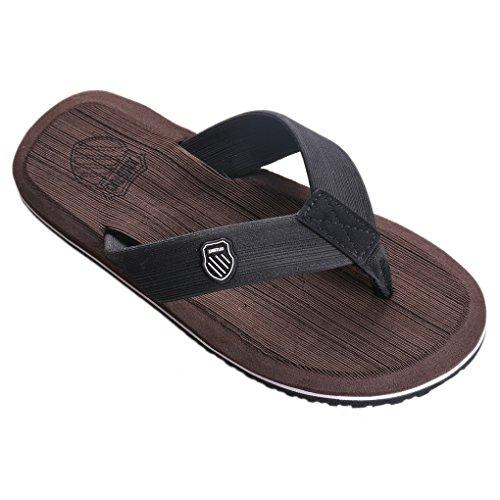Aelegant Herren Sommer Flache flip flop Strandschuhe Hausschuhe Pantoletten Zehentrenner Sport Outdoor Sandalen Schuhe (47, Braun)