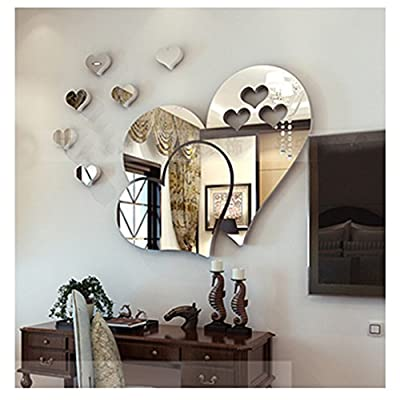 VWH 3D Love Hearts Mirror Wall Sticker DIY Home Room Mural Art Decor Removable Decal produced by Yingwei - quick delivery from UK.