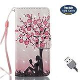 Aireratze iPod Touch 6 Handyhülle, Touch 5 Hülle PU Glatte Glitter 3D Oberfläche helle Farbe niedlich Fall für Kinder [Handschlaufe angebracht] in Baum Hülle für iPod Touch 6/Touch 5 (USB Cable)