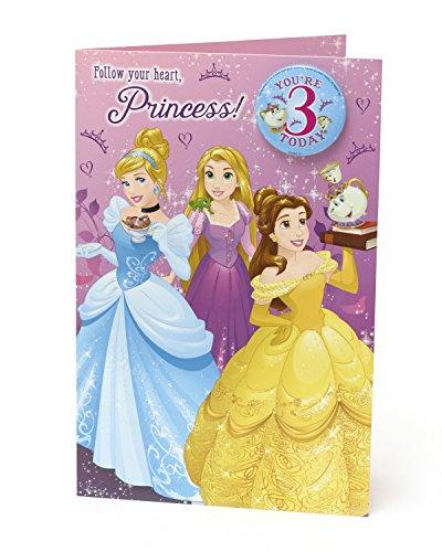 �2,5cm Cinderella/Belle/Rapunzel Disney Prinzessinnen Alter 7,6cm Geburtstagskarte ()