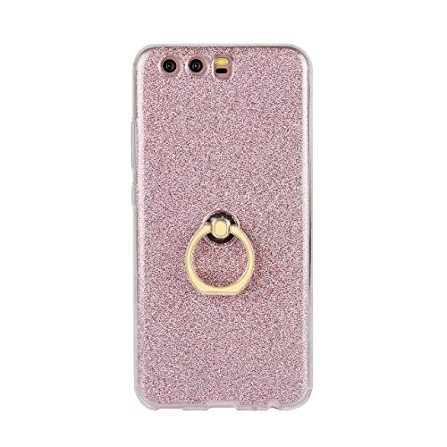Luxus Bling Sparkle Style Case, Soft TPU [Silikon] Flexible Glitter Back Cover [Anti Scratch] mit Fingerring Stand für Huawei P10 ( Color : White ) Pink
